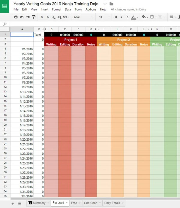 Daily Sheet Yearly Word Count Goals Spreadsheet