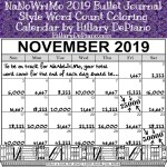 NaNoWriMo 2019 Bullet Journal Style Word Count Coloring Calendar