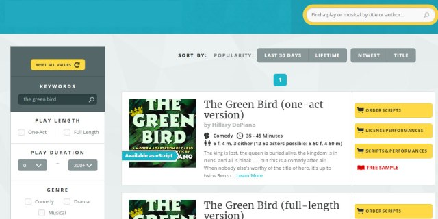 High school friendly script for Carlo Gozzi's The Green Bird available now from Playscripts!