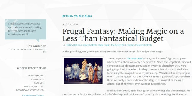 Tips for performing a fantasy play and making magic & special effects on a school budget