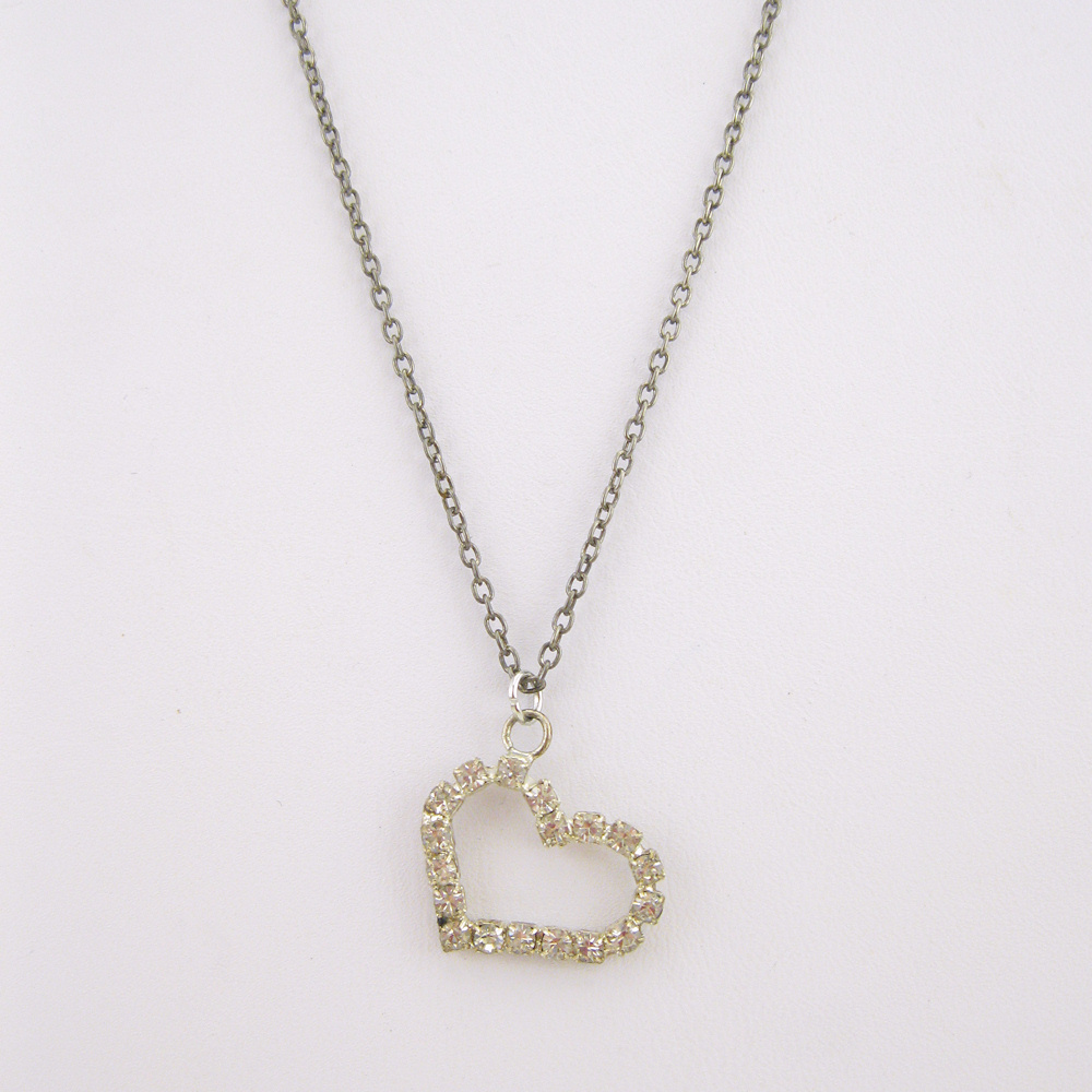 Rhinestone Heart Necklace   Hillary's Handmade