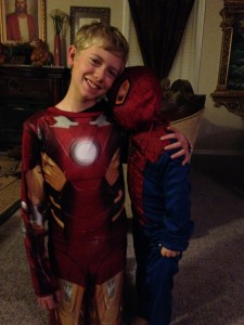 Heroes: My sons, Iron Man and Spiderman.