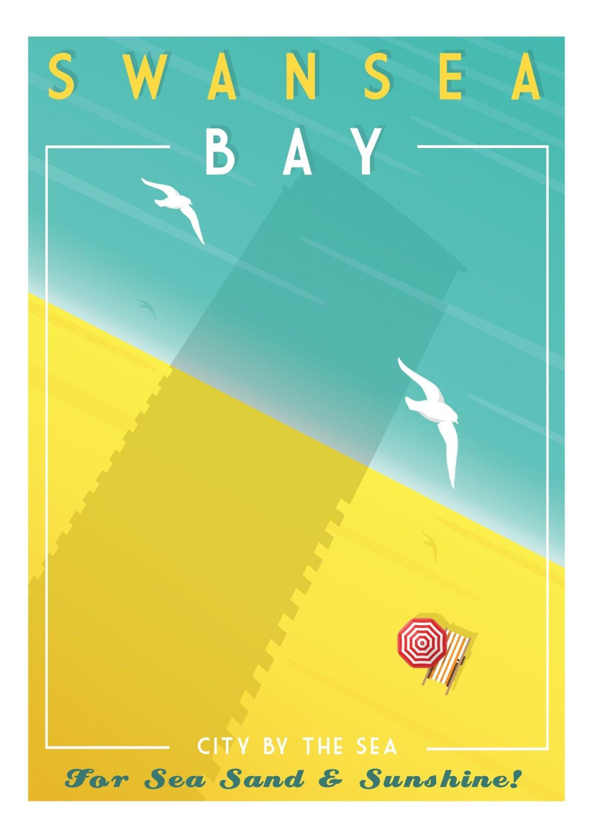 Swansea Bay - Gower retro Art