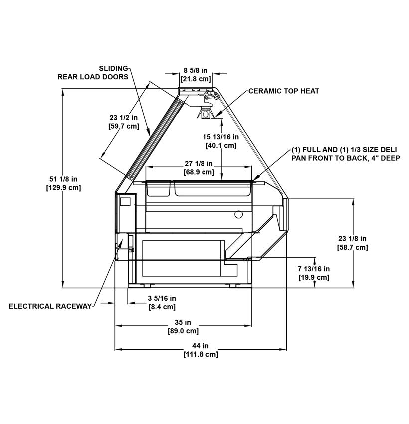 BMD-H Deli Service: Service Single-Deck Hot Deli Display Case