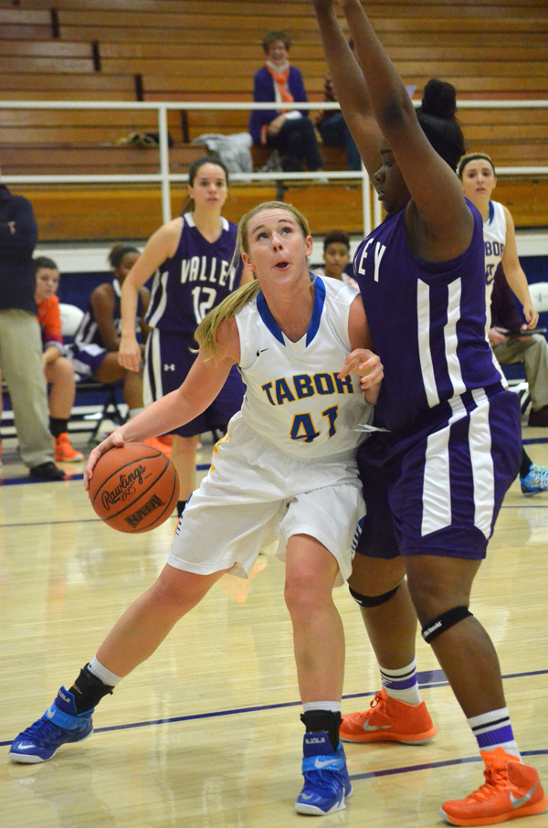 Sam Short looks to score during the first half against Missouri Valley Tuesday. Short scored four points and grabbed nine rebounds in Tabor?s 70-66 win. Janae Rempel / Free Press