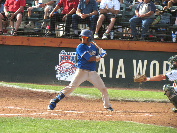 Tabor College shortstop Gadiel Baez takes his turn at bat during the Avista NAIA World Series. The Bluejays made their deepest run in history, going 2-2 on the national stage. Free Press file photo