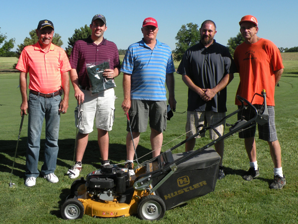 The top finishers of the Pine Edge 11th annual putting tournament are: (from left) Mike Cavanough (fourth), Chris Wainright (first), Gerald Voth (fifth), Andy Schroeder (second) and Rick Glock (third). The tournament is sponsored by Hustler Turf Equipment of Hesston, but no one won the grand-prize mower. Courtesy photo