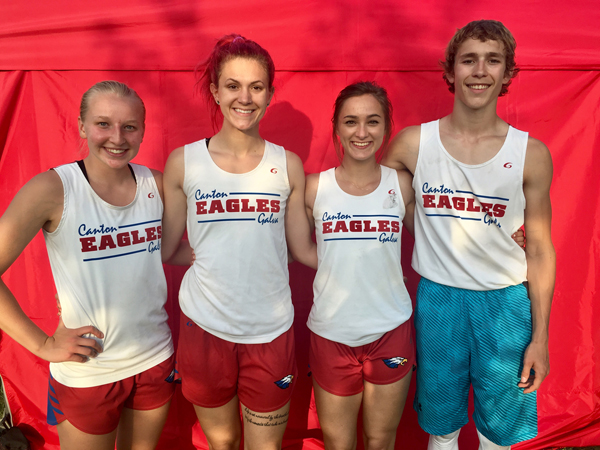 Canton-Galva will be sending these state qualifiers to the Kansas Track and Field Championship in Wichita on Friday and saturday. From left: Tia Moddelmog, Katie Fielder, Maddie Snow and Kinser Colgin. Photo courtesy of Tina McMannis