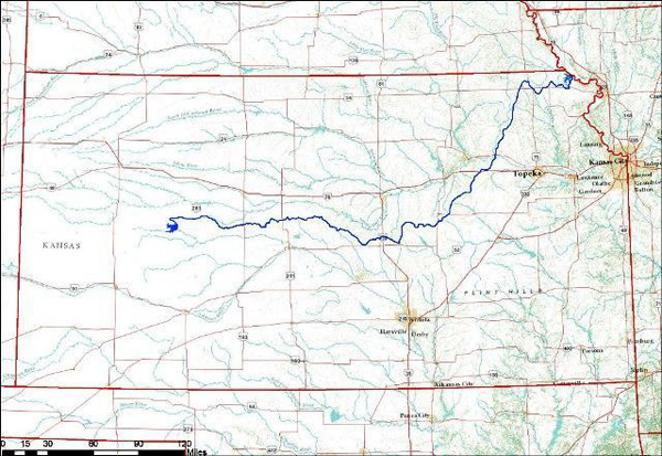 """State officials have discussed the prospect of the """"Great Canal Of Kansas"""" shown on this map."""
