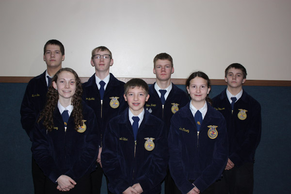 Centre FFA Members who participated in the South Central District Public Speaking Contest in Buhler, KS on Jan. 16. From left to right Back Row: Quinten Bina, Tanner Stuchlik, Dillon Knepp, Kyle Peterson. Front Row Left to Right: Cailey Barney, Mikey Silhan, and Emily Casey. Courtesy Photo