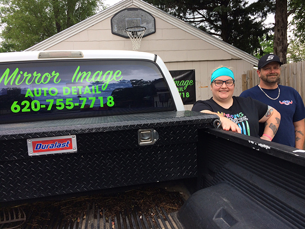Patty Decker/free press Ashley and Doug Copenhaver own a car detailing business called Mirror Image. They are located in Hillsboro.