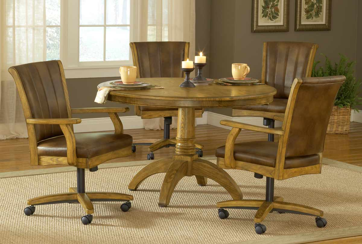 caster dining chairs hickory room hillsdale grand bay round set with chair