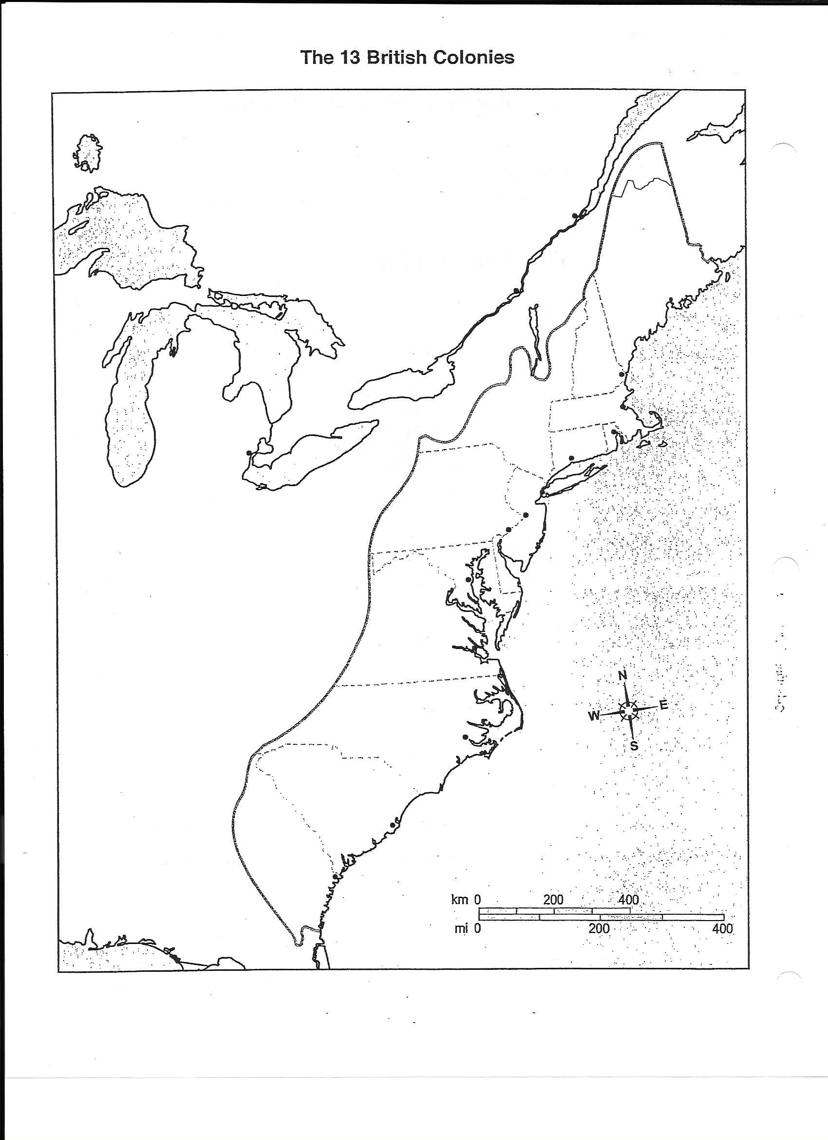 Blank 13 Colonies Map Quiz