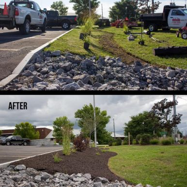 A before and after picture of landscaping work done by Hillside Seasonal Services to the side of a parking lot
