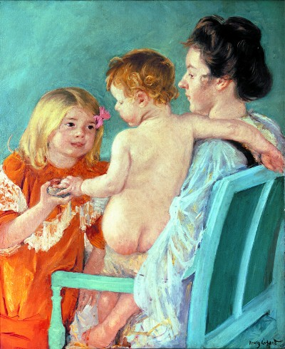Sara Handing a Toy by Cassatt