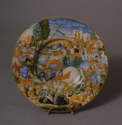 Istoriato Plate with Marcus Curtius