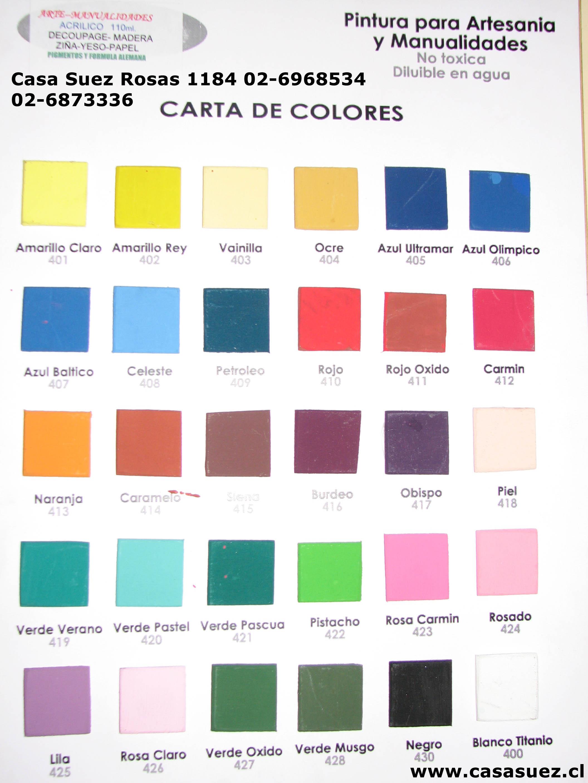Pinturas carta de colores  Imagui