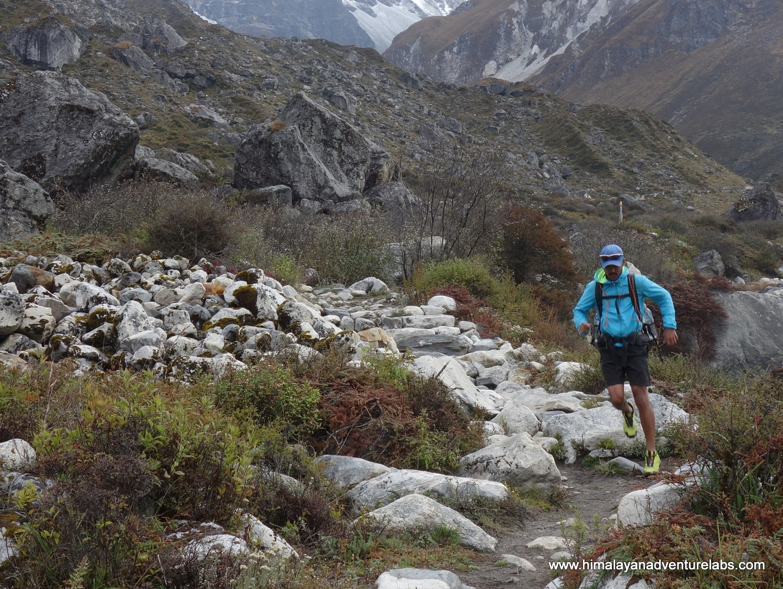 We are finally able to run on our fifth day - nice trails and a gradual descent. We ran and hiked the length of the Langtang valley from Kyang Jin to Syrabu in about 8 hrs