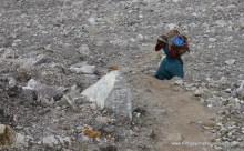 Tibetan woman on her way to Upper Langtang