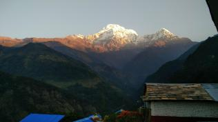 Annapurna South and Huichuli the next morning, from Landruk. So we did the MardiBC trek in 3 days from Kande and joined Landruk which connects to ABC/MacchapuchreBC trek.