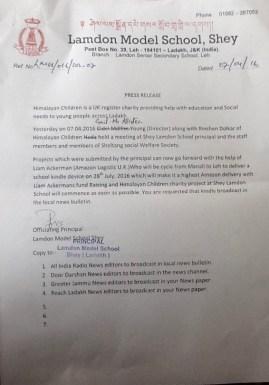Press release re shey amazon
