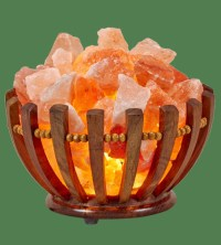Himalayan Salt Lamp Wooden Bowl Basket