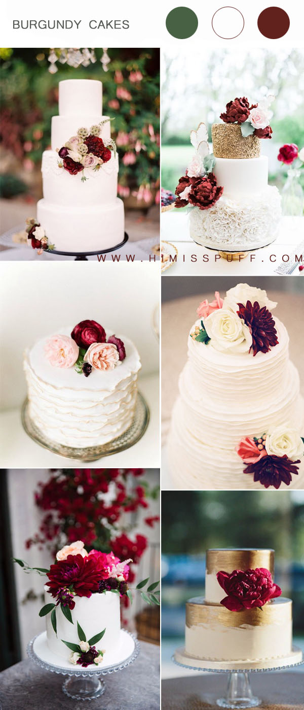 burgundy and white wedding cake ideas