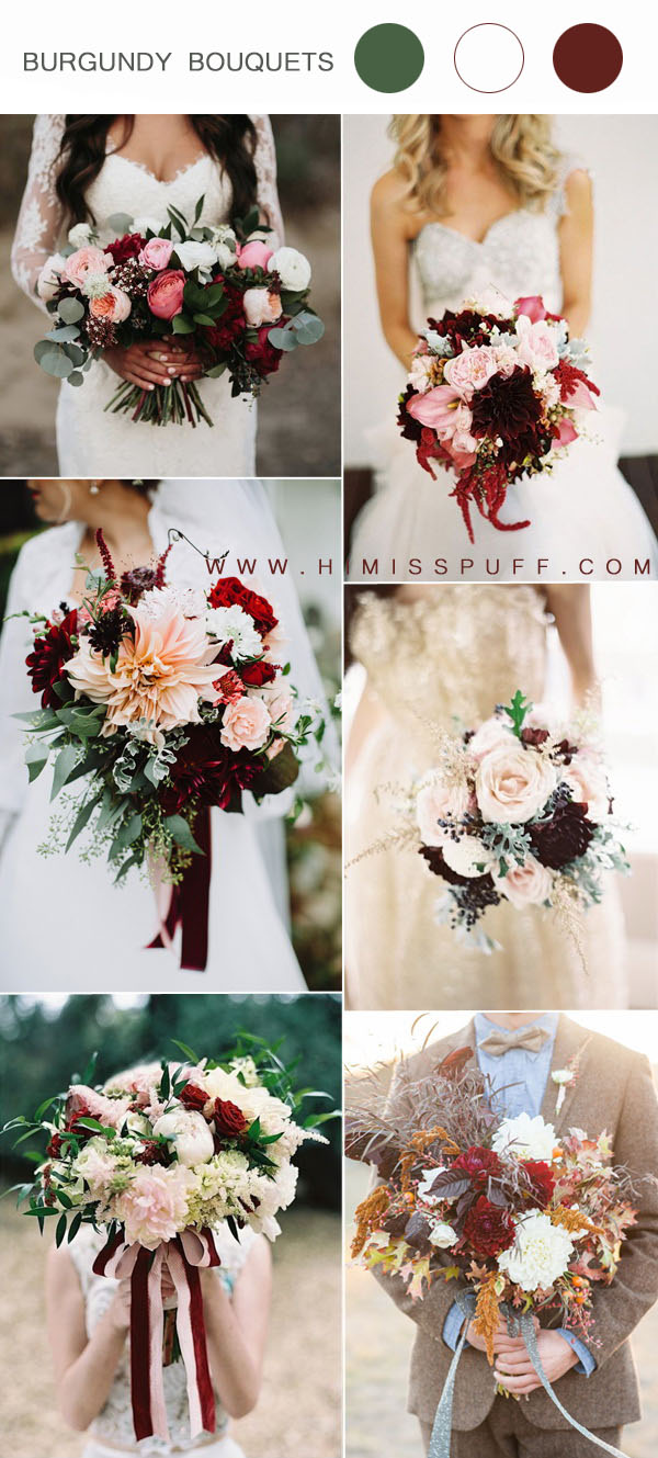 burgundy white and pink wedding bouquets ideas