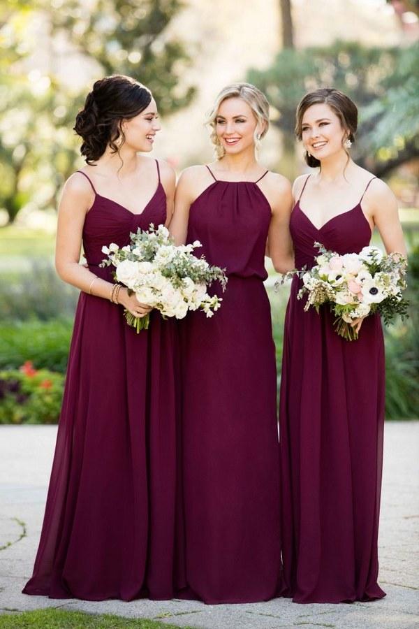 Boho Burgundy Bridesmaid Dresses