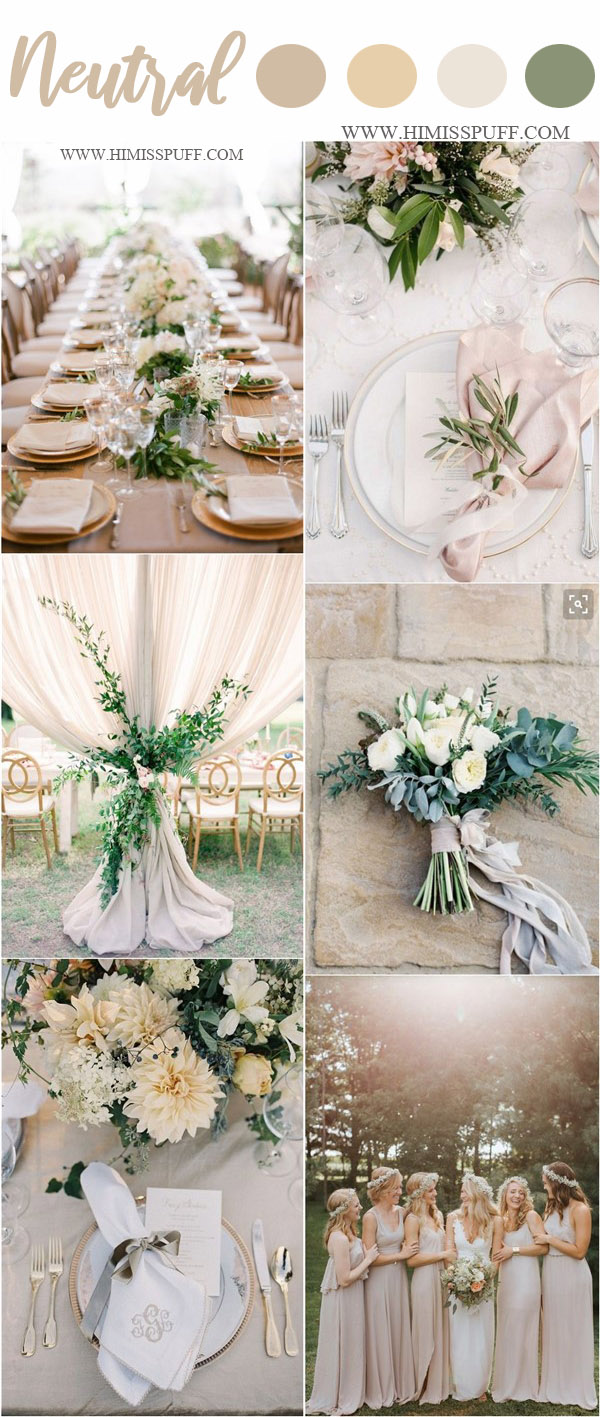 spring wedding color ideas- neutral and greenery wedding color ideas