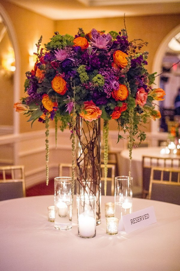 fall purple and orange tall wedding centerpiece
