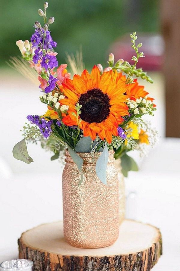 fall sunflowers and gold mason jar fall wedding centerpiece