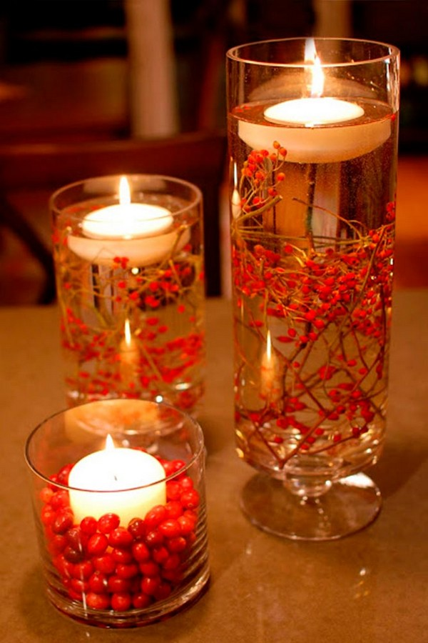 fall wedding centerpieces glass candlesticks berries