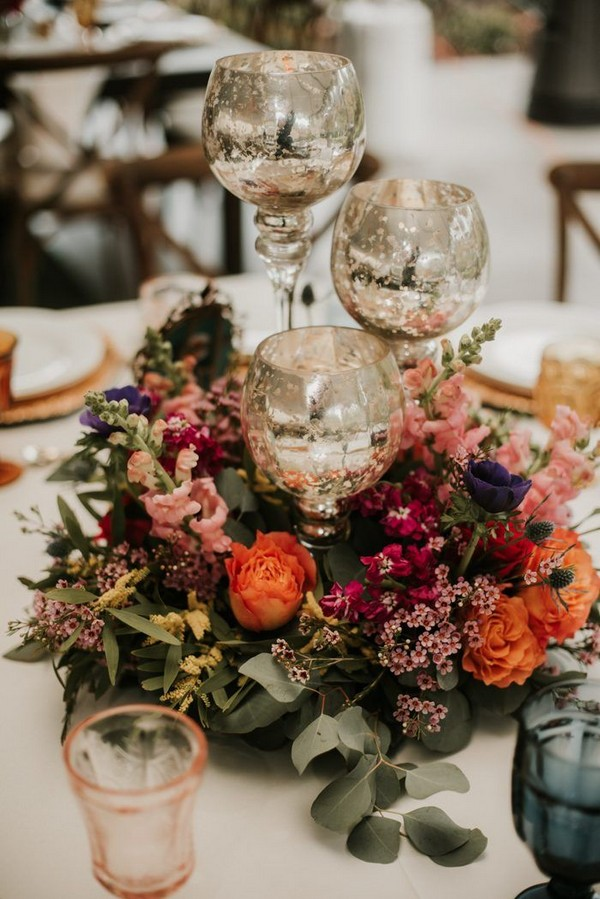 vintage fall colorful wedding centerpiece