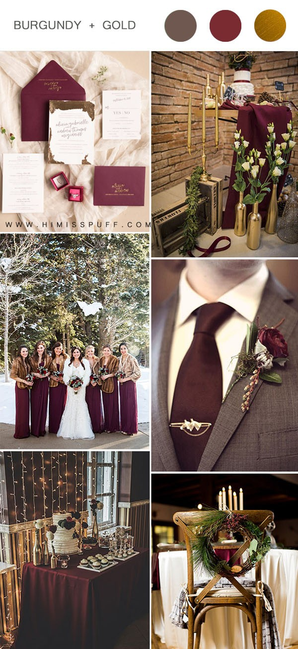classic burgundy brown and gold winter wedding color combos