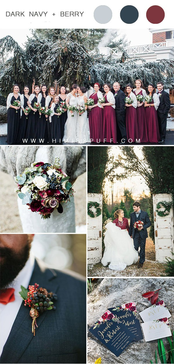 cran berry tone and navy blue christmas theme winter wedding colors