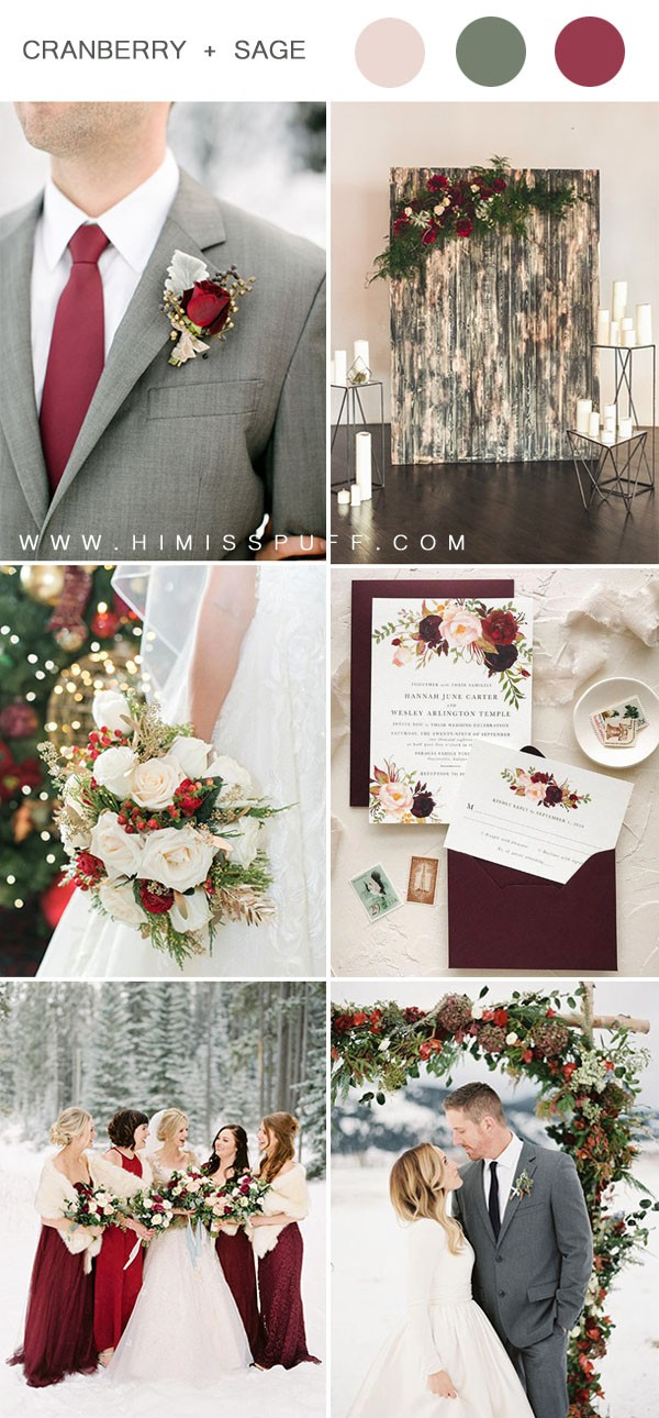 cranberry gray and blush romantic winter wedding color ideas