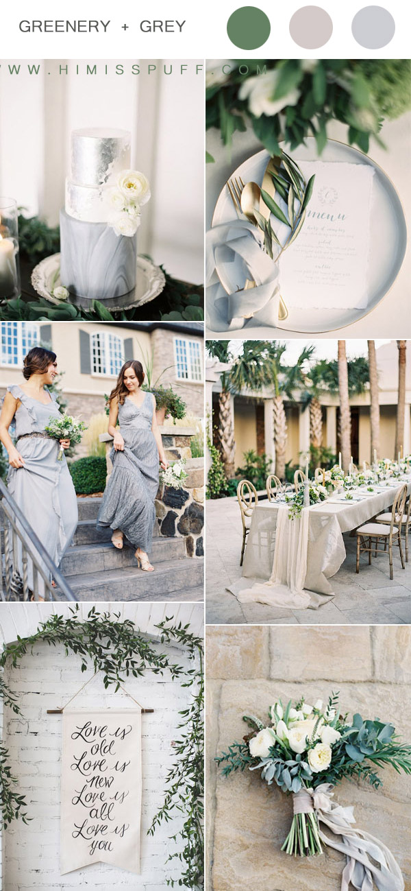 gray and greenery elegant wedding ideas