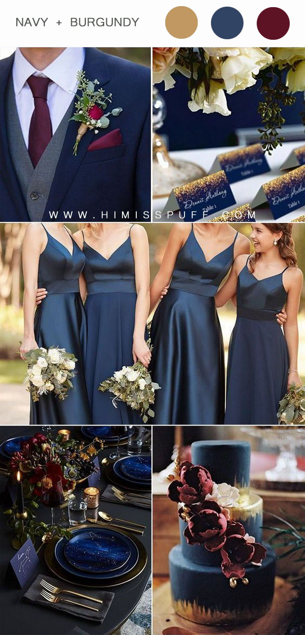 Navy blue bridesmaid dress wedding cake wedding table decor ideas