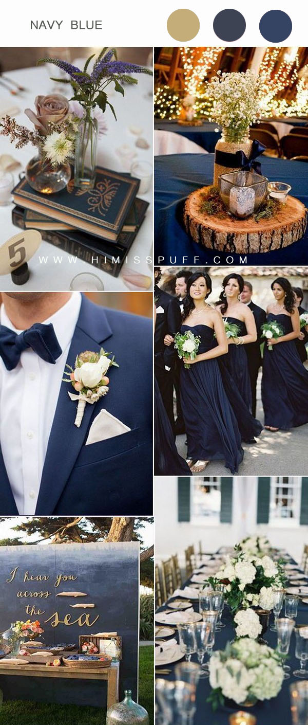 Navy blue bridesmaid dress wedding flowers table decors ideas wedding wedding color schemes