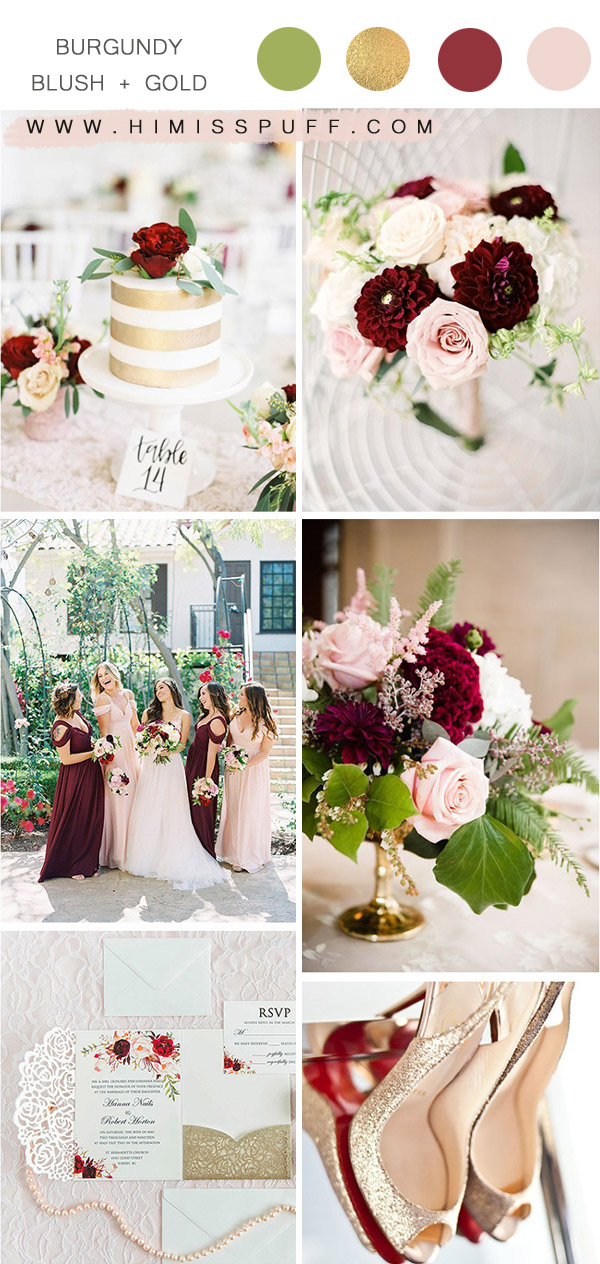 blush burgundy and gold spring and summer wedding color combos