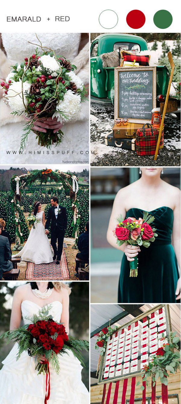 bold scarlet red and emerald green christmas wedding ideas
