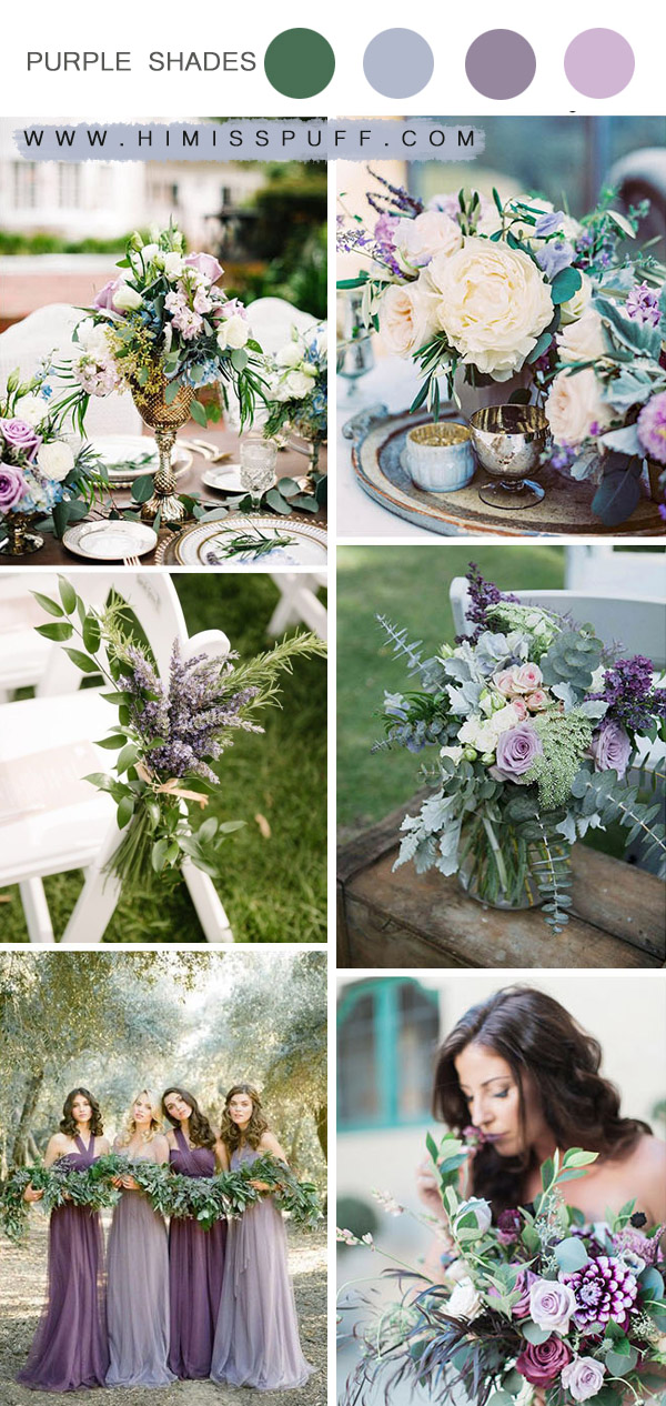 shades of purples organic spring and summer wedding colors