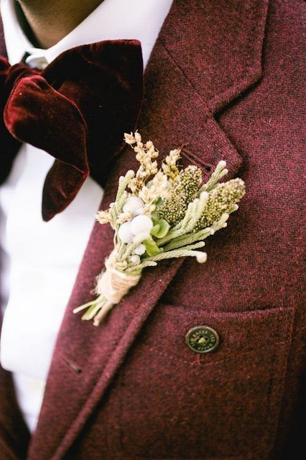burgundy groom wedding suit for fall and winter
