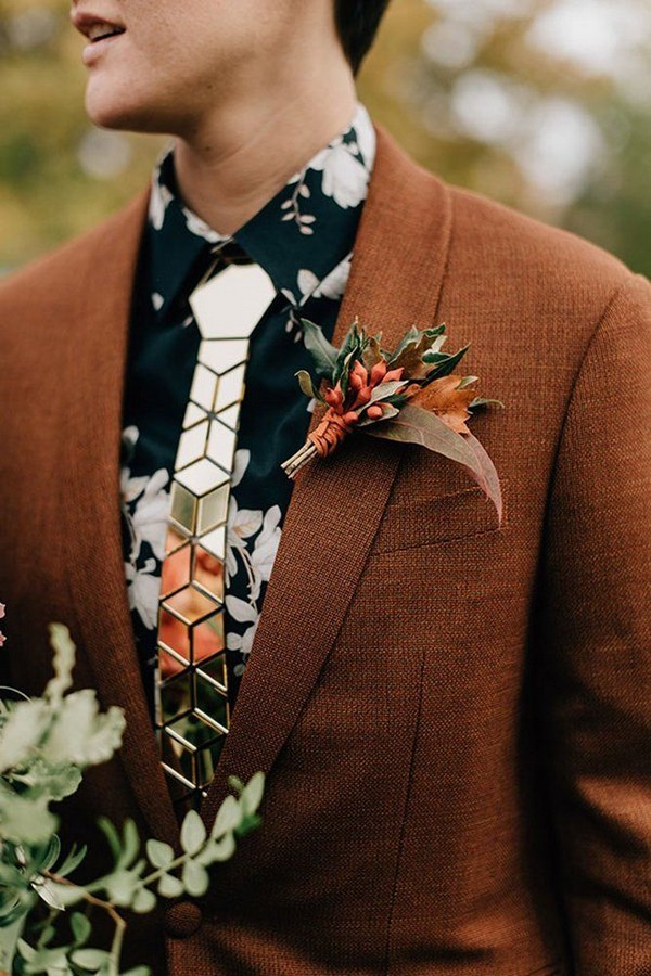 rustic groom attire brown jacket with boutonniere flower tie