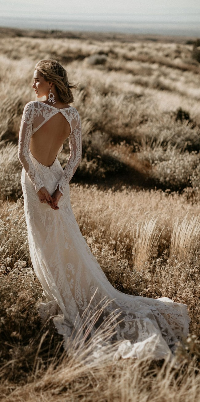 Backless Long Sleeves Cotton Lace Wedding Gown2