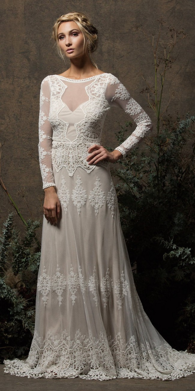 Long Sleeves and Open Back Backless Wedding Gown