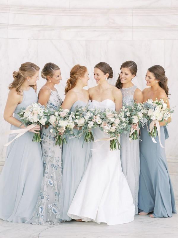 Periwinkle light blue mismatched bridesmaids dresses