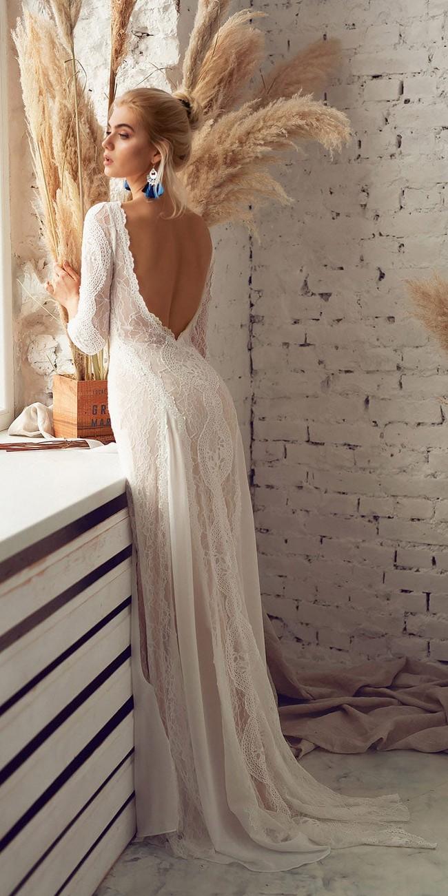 bohemian open back wedding dress with sleeves2