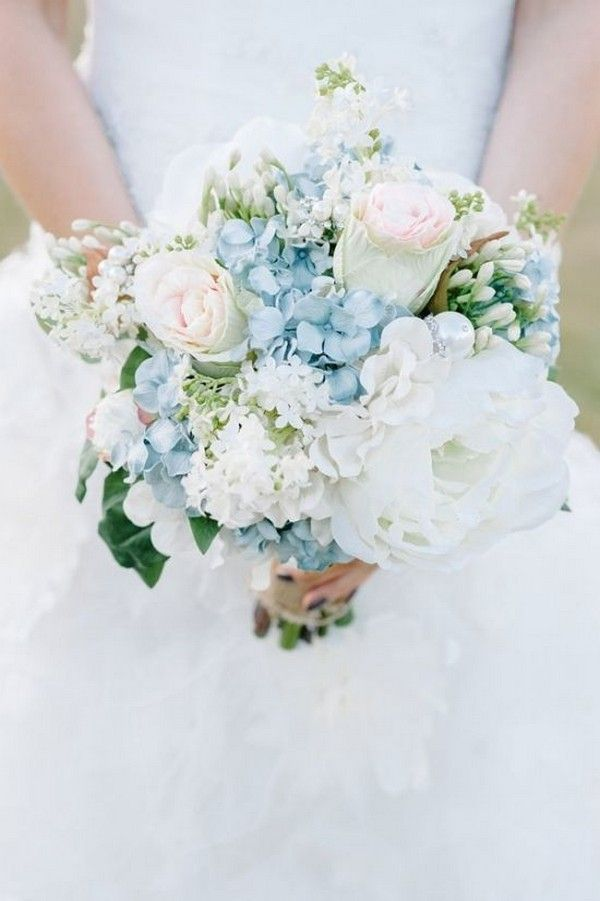 light blue and white spring summer wedding bouquet